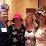 Friends and fellow Margie Lawson Immersion grads, Jaye Wells, Sylvia McDaniel, Lori Freeland, and EE in my most stupendously silly hat, Buns & Roses, Oct. 2013.