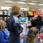 Chatting with readers at B&N Creekwalk, Feb. 2013.